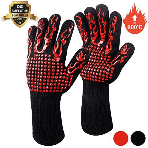 Fesoar Grillhandschuhe,Ofenhandschuhe Hitzebeständig BBQ Handschuhe Kochenhandschuhe bis zu 800°C 1 Paar rutschfeste mit Silikon EN407 für Grill,Kochen,Backen,Schweißen (Rot)