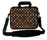 Luxburg® 15,6 Zoll Laptop Tasche Hülle für Notebook Tablet Sleeve Neopren mit Schultergurt und Fach, Motiv: LX Muster schoko
