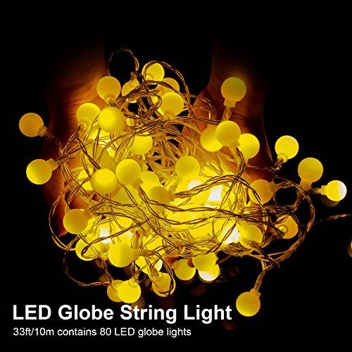 Ai-light catena luminosa,luci della stringa con 80bulbi,8modo,usb alimentato 10m stringa illuminazione, luce calda bianca, decorativa da interni e esterni, anche per festa, giardino, natale, halloween