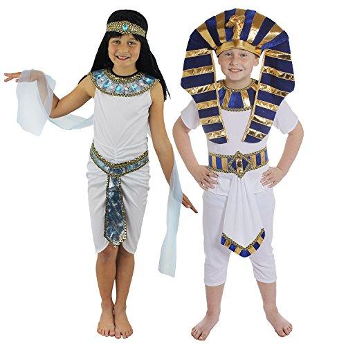 ÄGYPTIAN PYRAMIDEN -PHARAONEN KINDER PAAR = KINDER KOSTÜM FÜR ÄGYPTISCHE VERKLEIDUNG FÜR EIN PAAR/KINDER = HISTORISCHE KINDER KOSTÜM FÜR FASCHING UND KARNEVAL = FÜR PHARAO UND KÖNIGIN DES NIL VERKLEIDUNGEN (Kostüme Moses Kinder)