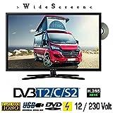 Reflexion LDDW22 LED Fernseher 21.6 Zoll 56cm Sat TV DVB-S2/C/T2 DVD 12/230 Volt für Camping PKW Wohnmobil und Zuhause
