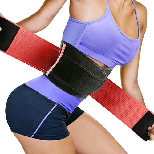Faja Reductora Adelgazante Waist Trimmer Faja Mujeres, Faja Transpirable Cinturón de Adelgazamiento de Neopreno con Velcro, Vientre Ajustable Dual -Negro y Rosa