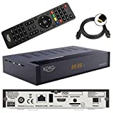 Xoro HRT 8770 TWIN Tuner DVB-T/T2 Receiver + 1,5m HDMI Kabel (Full HD, HEVC H.265, HDTV, HDMI, Irdeto Zugangssystem, Freenet TV, Mediaplayer, PVR Ready, USB 2.0