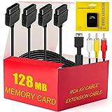 PS2 Zubehör-Set - 4 in 1 Essential Kit inkl. 128 MB Speicherkarte, Audio Video RCA Kabel und 2 Controller-Verlängerungskabel für Sony Playstation 2 PS2 Konsole