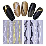 NICOLE DIARY 2 Sheets Gold Metal 3D Nail Sticker Lines Multi-size Wave Stripe Nail Art Adhesive Transfer Sticker Nail Art Decoration