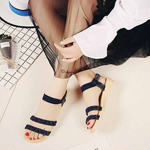 Transer ® Fashion femmes Bohême plat sandales Peep-Toe doux tongs Marine