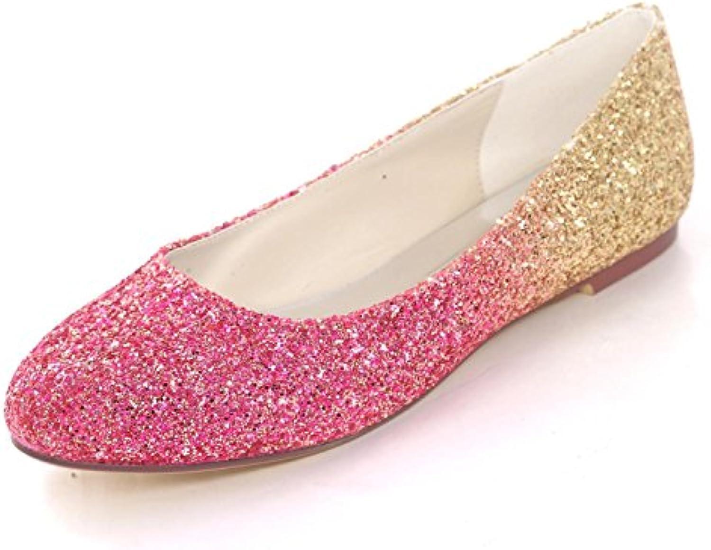 L@YC Bombas de Mujer Tacones Cerrados Tallas Planas de Lentejuelas Prom Satin Wedding Party Shoes -