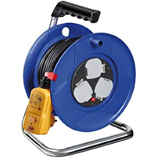 Brennenstuhl Garant 3-way socket outlet cable reel with RCD-plug (25m cable length, 30mA, ergonomic handle), cable colour: black