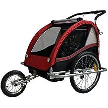 Remolque de bici para niños con kit de footing, color: ROJO / negro - 602-01