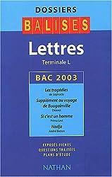 Lettres, Terminale L : Bac 2003, Les tragédies de Sophocle, Supplément au voyage de Bougainville de Diderot, Si c'est un homme de Primo Levi, Nadja d'André Breton