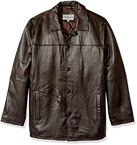 Excelled Men's Big and Tall Four-Button Lambskin Leather Car Coat,