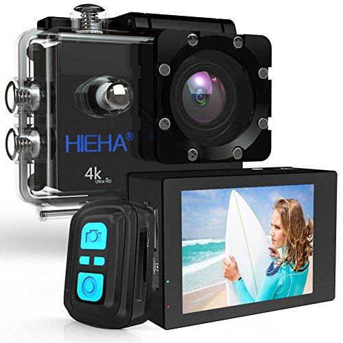 Hieha H68 4K Action Kamera Sport Cam Camcorder Full HD WiFi 1080P 20MP 170° Weitwinkel 2,0 Zoll Wasserdicht Mini DV mit Fernbedienung Zubehör Kits