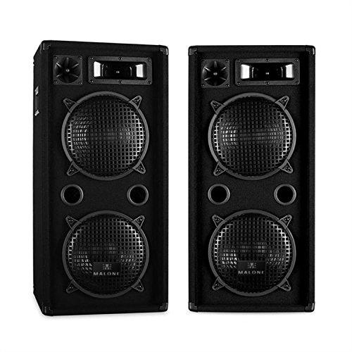 Malone PA Boxen Paar PA-Lautsprecher mit mächtigen 2x2 25cm (10 Zoll) Subwoofer (1800W - 4x 450W RMS, diverse Anschlussoptionen, 3-Wege) schwarz