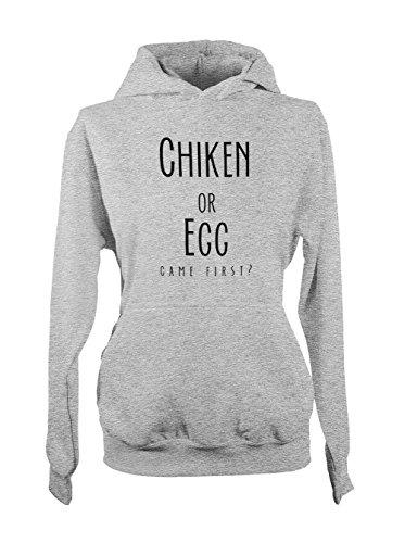 Chicken Or Egg Came First Evolution Femme Capuche Sweatshirt Gris