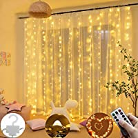 gensit 300 LEDs Window Curtain Twinkle Star USB Remote Control 8 Modes String Lights Outdoor String Lights