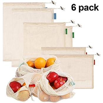 Earthtopia Lot de 4 Sacs pour Fruits et l/égumes en Coton Biologique /Équitable et r/éutilisable 1x S, 2X M, 1x L Filets pour l/égumes et Fruits
