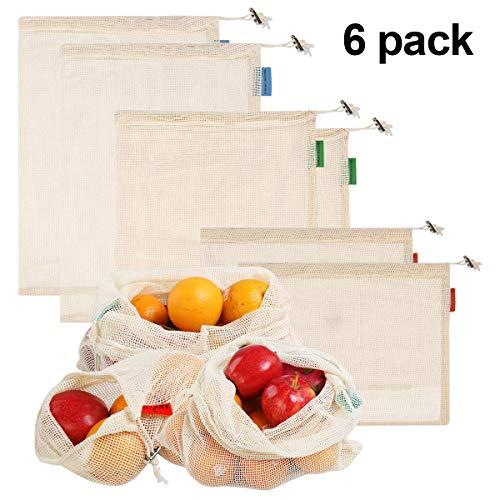 Natuce Wiederverwendbare Obst- und Gemüsebeutel 6er Set Beutel Gemüse-Netz Einkaufsbeutel aus Umweltfreundlicher Bio-Baumwolle Waschbare Einkaufsnetze für Obst und Gemüse S/M/L