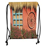 Icndpshorts Barn Wood Wagon Wheel,Country House in Ecuador Red Wall Window Summer Flowers Straw Roof Decorative, Soft Satin,5 Liter Capacity,Adjustable STRI