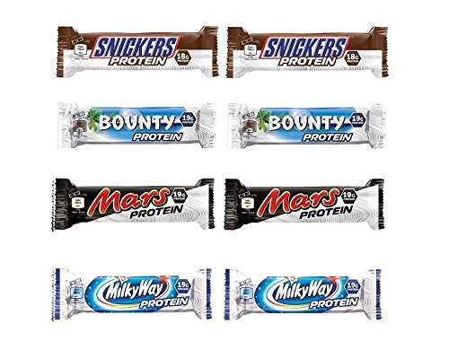 Super leckere Protein Riegel Mix Box, 8 Stück: 2 Snickers Protein, 2 Mars Protein, 2 Bounty Protein und 2 Milky Way Protein Bars. Super als Eiweiß Snack oder Riegel geeignet.