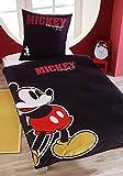 Renforce Bettwäsche 135x200cm Mickey Mouse Maus Disney Retro Schwarz