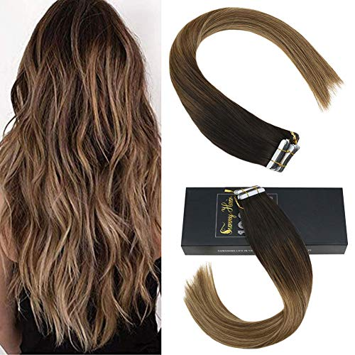 [grande sconto]sunny 35cm extension adesive capelli veri balayage marrone scuro a medio con biondo 2/6/27# tape in extension biadesivo capelli umani 50g/20pcs