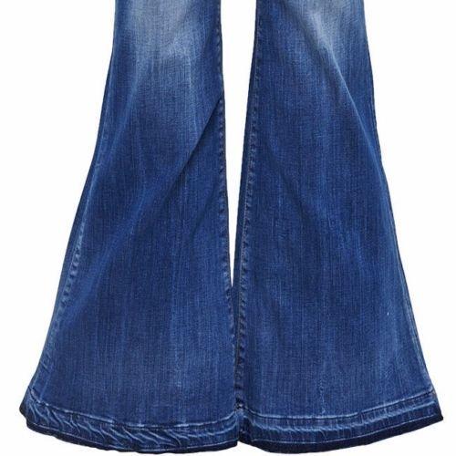 Only Damen Schlag Jeans Hippie 70er Party Stretch Hose Retro Marlene Bootcut Blau