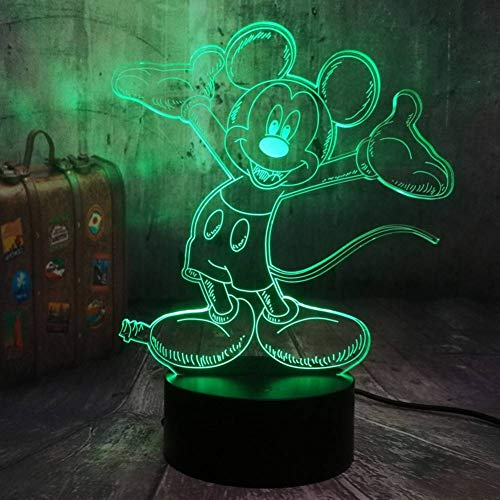 HHYXIN Nachtlicht 3D Led Happy Mickey Mouse Nachtlicht 7 Farben Kind Tischlampe Fern Kind Kinder Geburtstag Wohnkultur