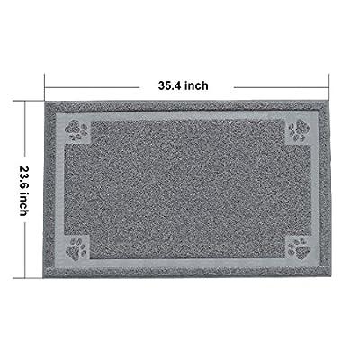 Litter Catcher Mat, PYRUS 35.4 x 23.6 Inches Cat Litter Mat PVC Pet Box Mats Feeding Mat for Kitty Dog