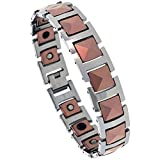 Tungsten Carbide Magnetic Therapy Bracelet, 2-Tone Rose Gold & Gun Metal w/ Triangular Faceted Square Links, (14 mm) wide, 8 inches/20.32 centimeters Long