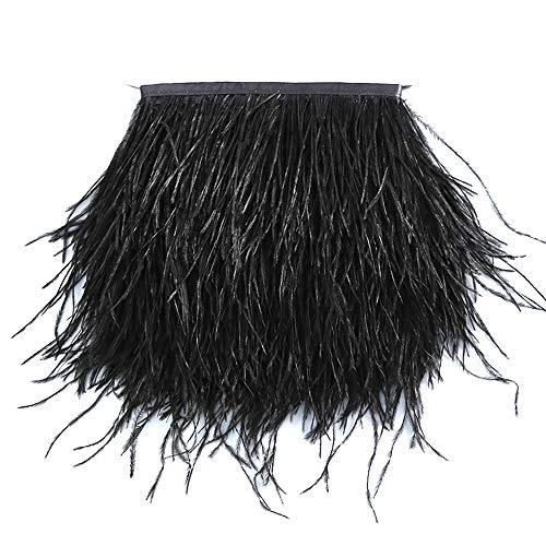 er Stoffstreifen fransen Band Straußenfedern Feder für Bekleidung DIY Nähen Handwerk VJ012 (1M Black) ()