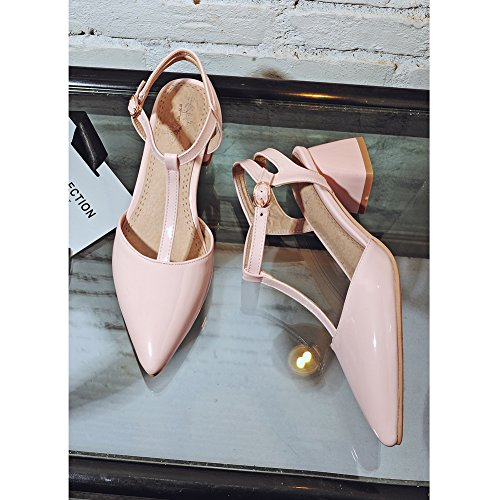 Damen Pumps Sandalen Spitze Zehen Mittelhohem Blockabsatz T-Spange Pink