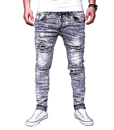 24a070fffd889 JUSTING - Jeans Homme Slim fit déchiré Jeans 2048 Gris - US 34 - Gris