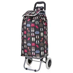 Hoppa Lightweight 2 Wheel Capacity Shopper Luggage Cart, 60 cm, 47 Liters, Black, Large