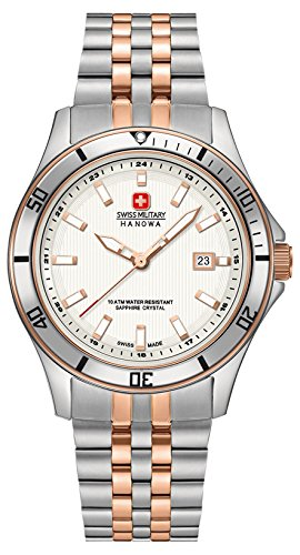 Swiss Military Flagship Lady Women's Quartz Watch with White Dial Analogue Display and Silver Stainless Steel Bracelet 6-7161.7.12.001