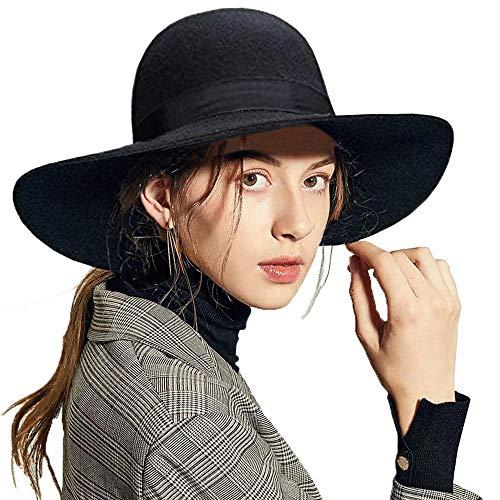 ASSQI Damen 100% wollfilz Schlapphut Fedora Wide Brim Cloche Bowler-Hut Faltbare One Size 01- Schwarz