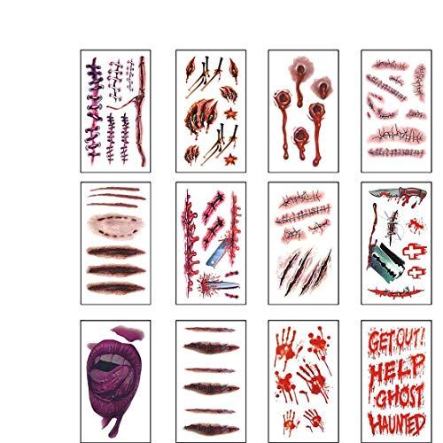 12 Hojas Tatuajes Temporales Halloween Zombie Cicatrices Tatuajes Pegatinas con Falso Scab Sangre Especial Mascarada Accesorios de Maquillaje Prank (12 Hojas pequeña)