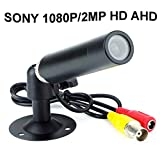 CNDST 2000TVL CCTV Sony 1080P HD AHD Color Mini Bullet Cámara de seguridad, Mini Spy Hidden Waterproof Camera 2MP StarLight, 3.6mm Lente 90 Grados DC 12V
