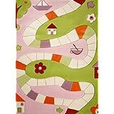 Little Helper IVI - Alfombra hipoalergénica con bordado en relieve (134 x 180 cm, tamaño muy grande), diseño de ribera de río, color rosa
