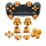 Full Metal Bullet Buttons for PS4 Controller, COCOTOP Aluminium Buttons Thumbsticks Thumb Grip, ABXY Buttons, D-pad, L1 R1 L2 R2 Trigger Buttons for PS4 PS4 Slim PS4 Pro Controller - Gold