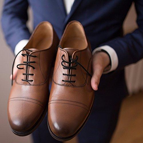 Lacets Cirés Ronds Fins Miscly pour Chaussures Habillées [3 Paires] Epaisseur: 2.4 mm de Diamètre (91cm, Noir)