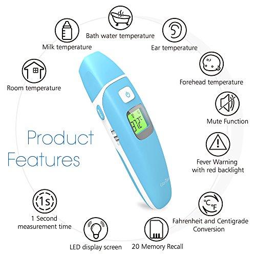 Infrarot Fieberthermometer Stirnthermometer Ohrthermometer Stiller Modus Professional für Babys, Kinder, Erwachsene und Objekt CE/FDA zertifiziert 3 Modi 1 Sek. Messzeit Fieberwarnung von Gloridea