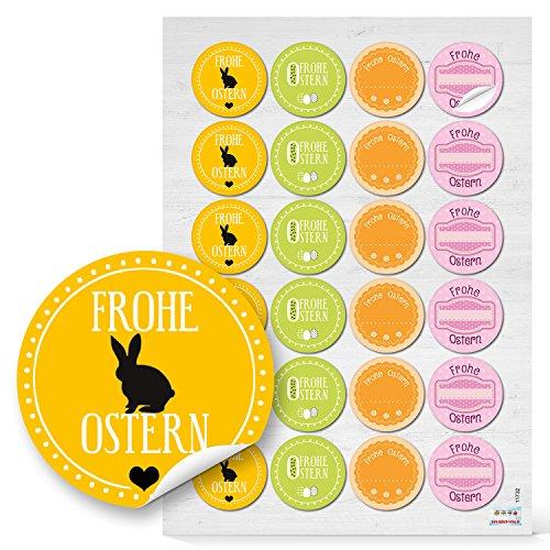 Set 48 Stück gelb grün rosa pink orange Osteraufkleber FROHE OSTERN Sticker mit Osterhase selbstklebende Etiketten als Osterdeko zum Aufkleben auf Ostergeschenke Mitgebsel Verpackung give-away (Verzierungen Orange Und Rosa)