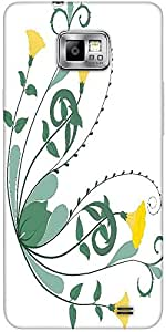 Snoogg Retro Floral Frame Corner Protective Case Cover For Samsung Galaxy S2