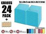 Super Dash Baby Blau (24 Stücke) von 50 X 50 X 5 cm Bevel Decke Studio Akustikschaumstoff Noppenschaumstoff Akustik Dämmmatte Schallisolierung Schaumstoff Polster Fliesen SD1039