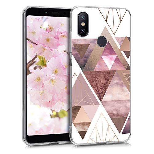 kwmobile Funda para Xiaomi Mi 6X / Mi A2 - Carcasa de TPU para móvil y diseño de triángulos en Rosa Claro/Oro Rosa/Blanco