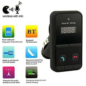 Goliton® Sans fil Bluetooth Lecteur MP3 transmetteur FM kit USB SD LCD à distance de voiture Disque Support USB et une carte SD,chargeur de téléphone-Noir