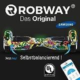 Robway Original Hoverboard W1 - Premium SAMSUNG Akku - UL2272 - CE - Self Balance - Bluetooth - App Steuerung - 2 x 350 Watt Motoren - LED - Elektro Scooter Self Balance Board (Grafit Blau)