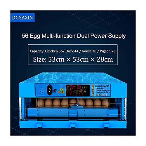 DGYAXIN Incubadora, Incubadoras de Huevos Automáticos, Doble Poder con Control de Temperatura volteo Digital automatico, Pollos Patos y Codornices la Incubación de los Huevos de Granja,56Eggs