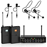 Wireless Microphone System,Fifine UHF Dual Channel Wireless Microphone Set with 2 Headsets