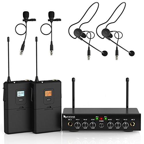 Kabelloses Mikrofon-System, Fifine UHF Dual Channel Wireless Mikrofon Set mit 2 Headsets und 2 Lapel Lavalier-Mikrofon. Ideal für Kirche, Hochzeiten, Präsentationen, Schule Play-K038